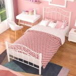 Mecor Twin Xl Curved Metal Bed Frame Princess White Platform Bed Frame With Vintage Headboard Footboard Mattress Foundation For Kids Girls Boys White Twin Xl Walmart Com Walmart Com