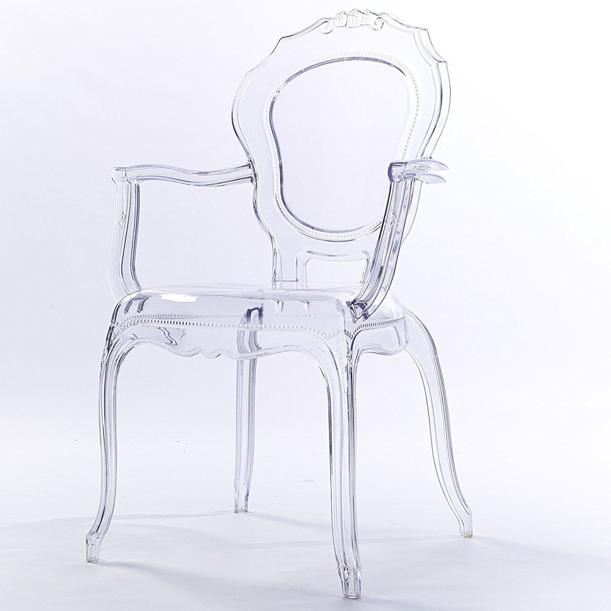 Clear Vanity Chair 2xhome Clear Transparent Modern Ghost Chair Armchair Vanity Dining Room Lounge Acrylic Molded Mirrored Furniture Desk Vanity Dining Chairs With Arms