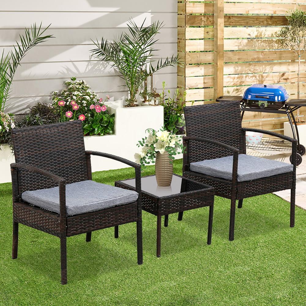 ubesgoo 3 piece patio furniture set wicker rattan outdoor patio conversation set