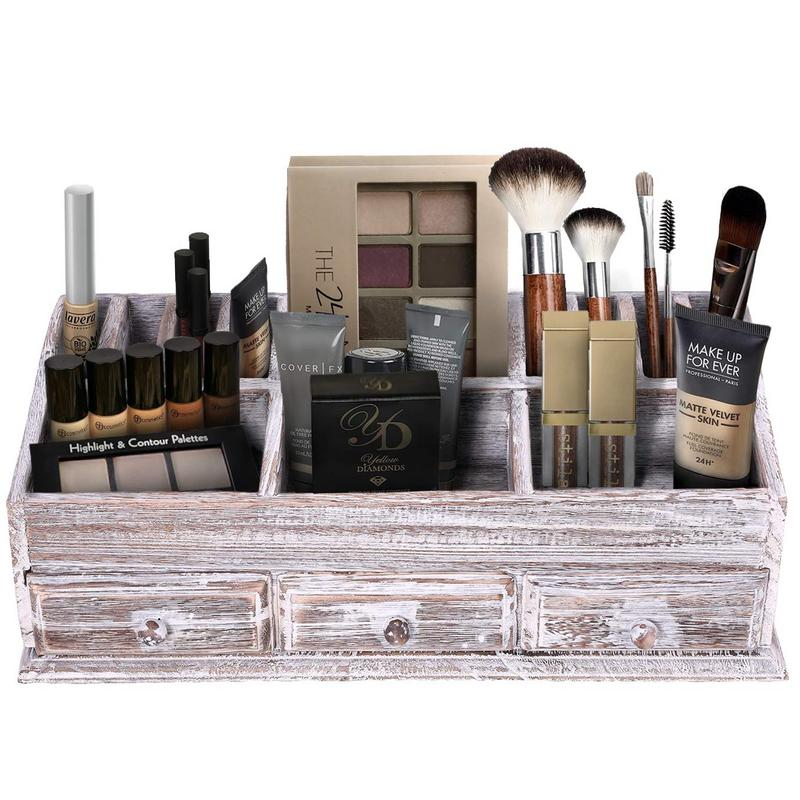 Rustic Wooden Desk Organizer for Home or Office  Makeup