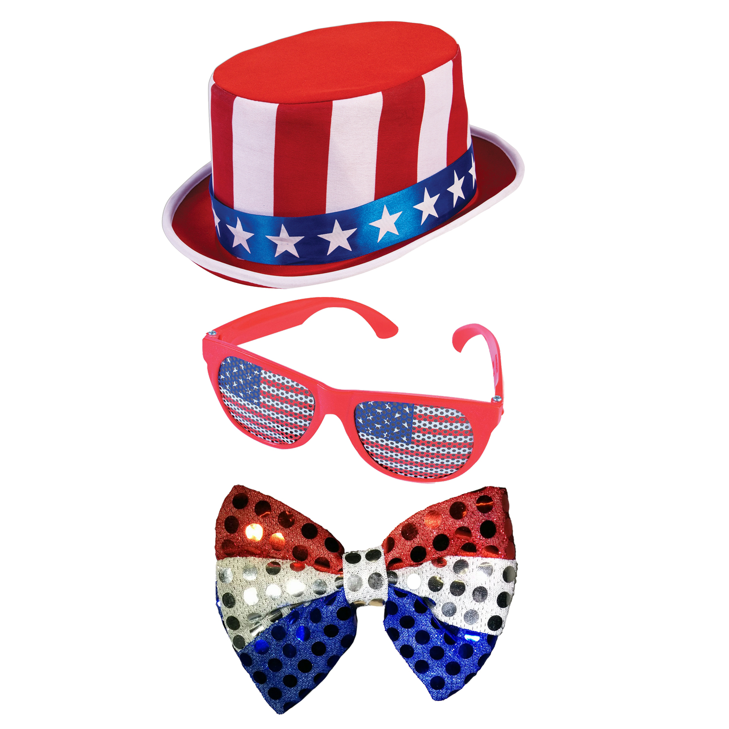 4th of July Stars and Stripes Deluxe Top Hat American Flag Glasses And Bow Tie