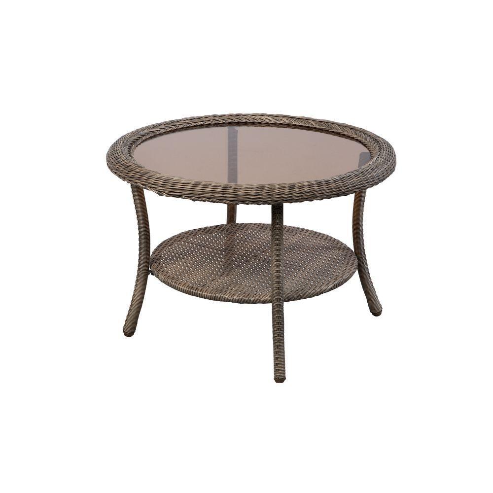 hampton bay 65 20310 spring haven grey round wicker outdoor patio coffee table walmart com