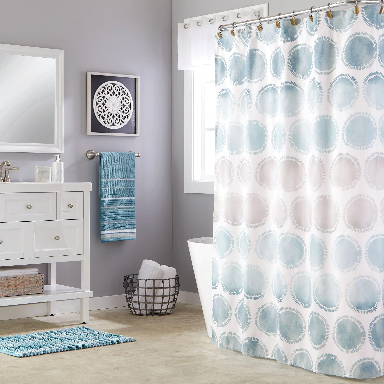 skl home swag circles fabric shower curtain blue 70 x 72 walmart com