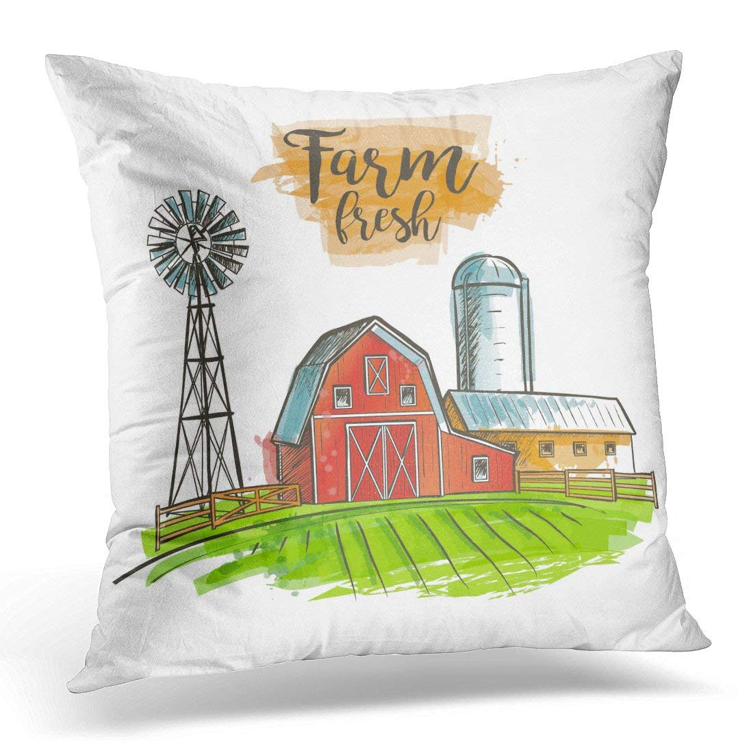 arhome red silo farm windmill barn fence house field vintage green sunrise throw pillow case pillow cover sofa home decor 16x16 inches