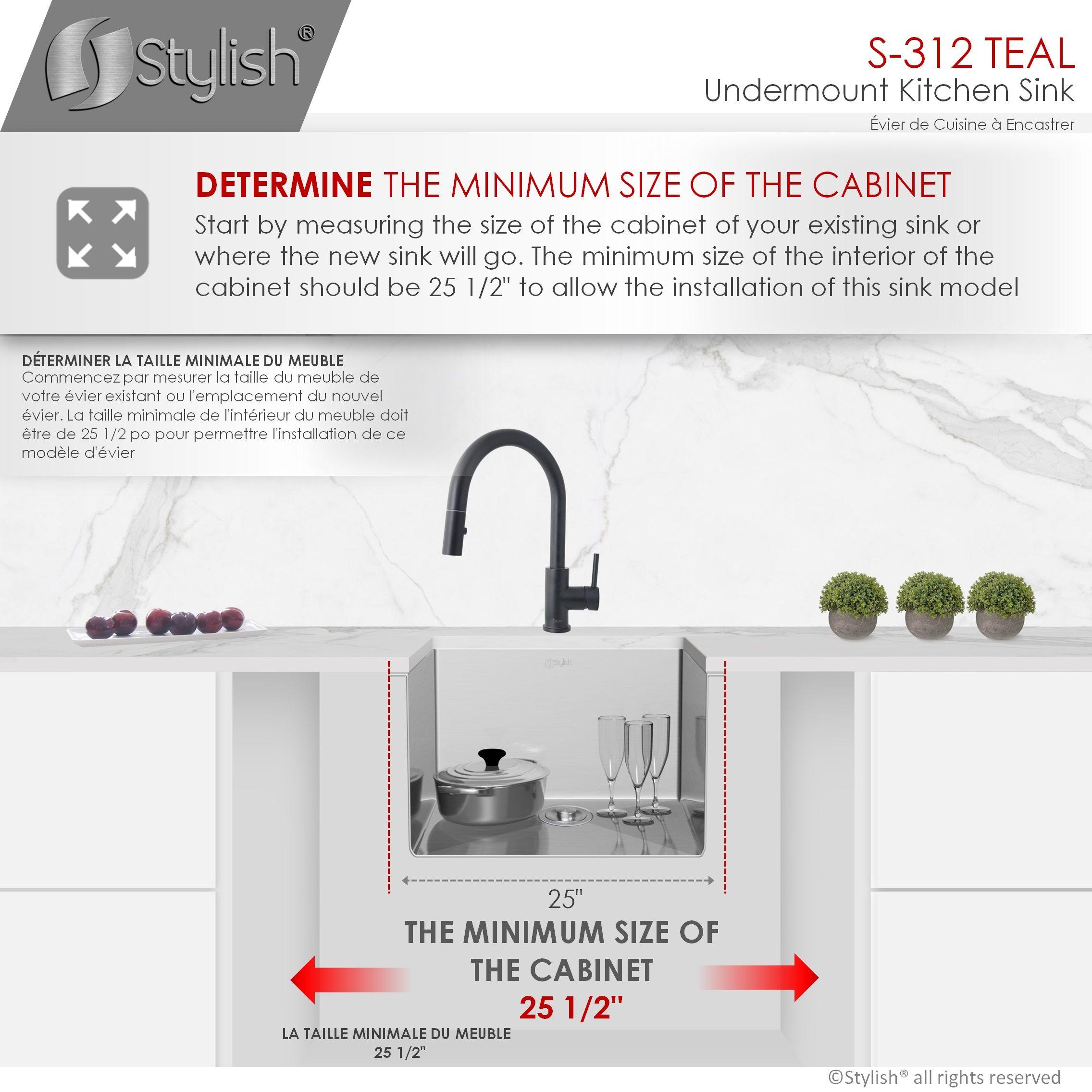 stylish 25 inch single bowl undermount stainless steel kitchen sink