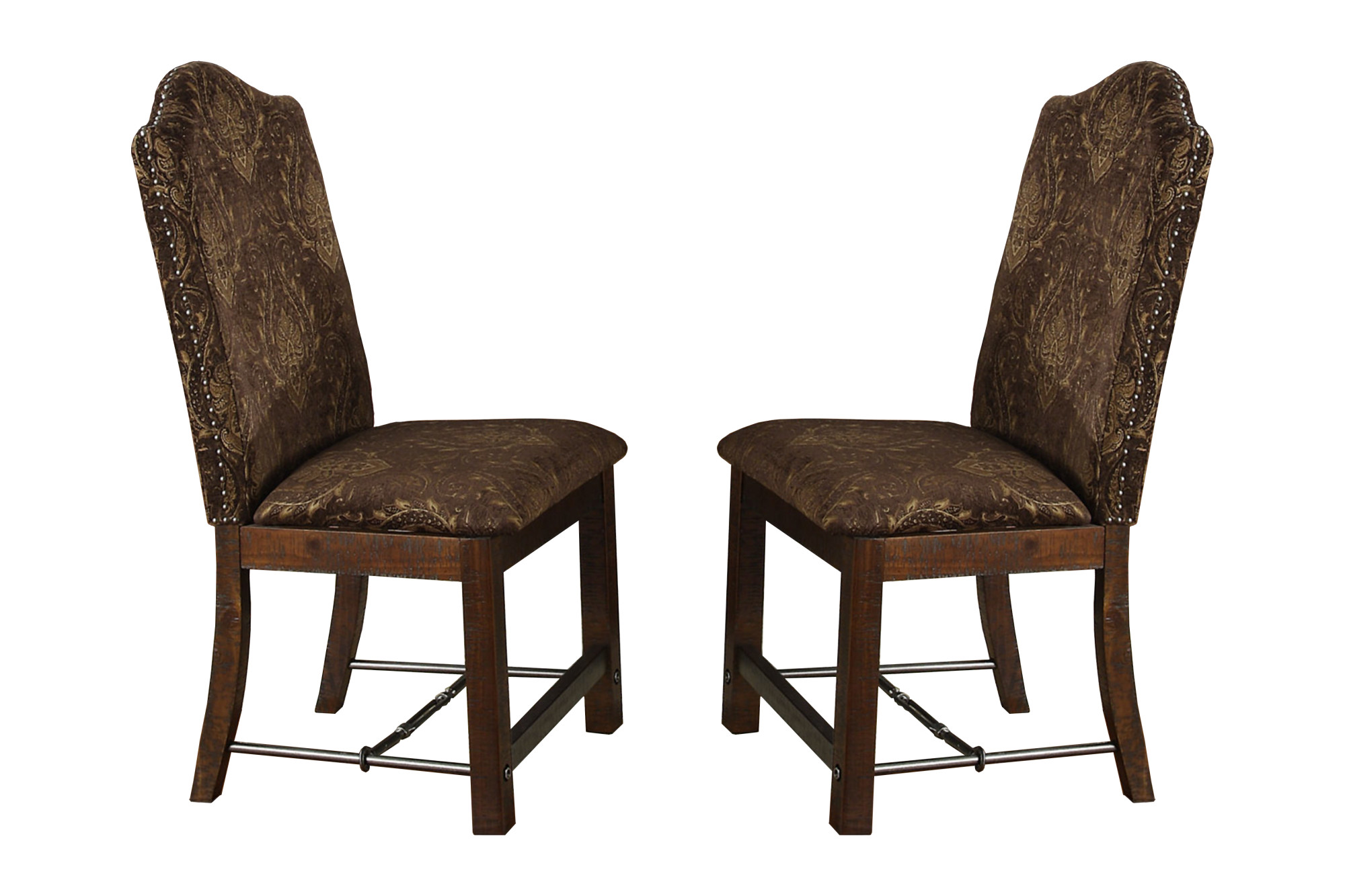 upholstered chair with nailhead trim guidecraft table and chairs emerald home castlegate pine brown dining turnbuckle bracing set of two walmart com