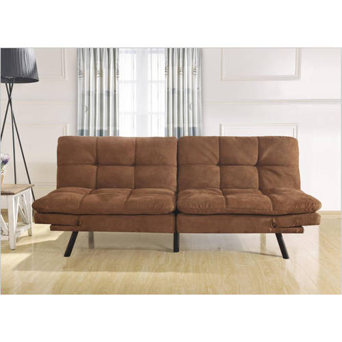 Mainstays Memory Foam Mattress Brown Suede Microfiber Futon Arm Rest Sofa Bed
