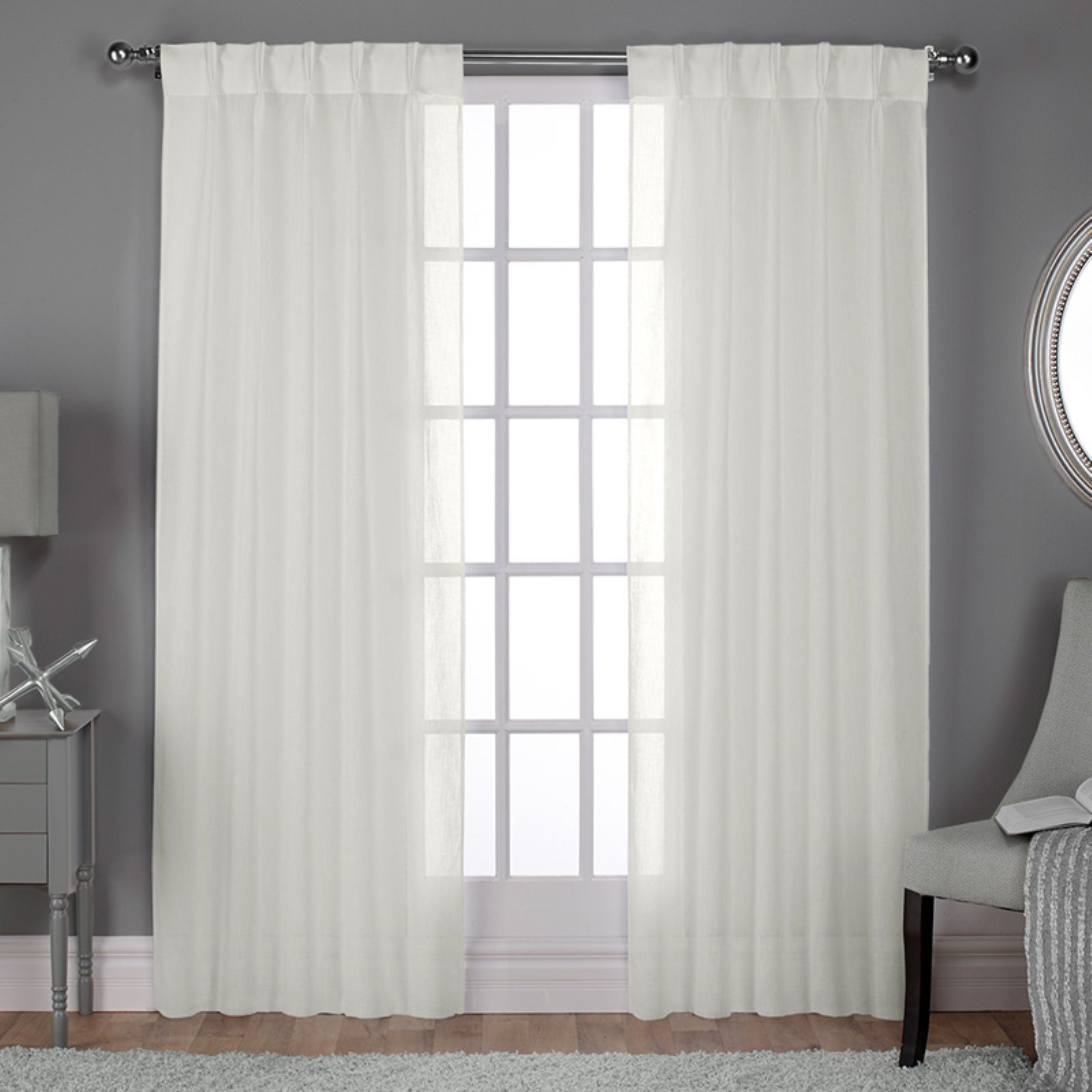 exclusive home curtains 2 pack belgian textured linen look jacquard sheer pinch pleat curtain panels
