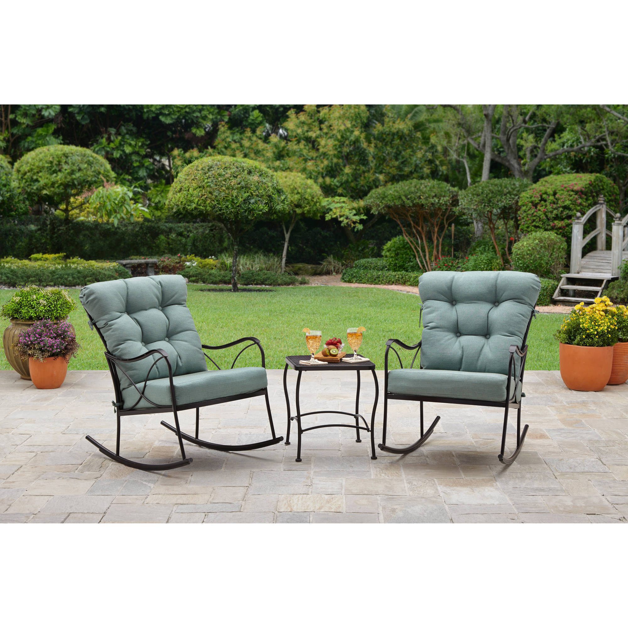 Metal Bistro Table And Chairs Better Homes And Gardens Seacliff 3 Piece Rocking Chair Bistro Set