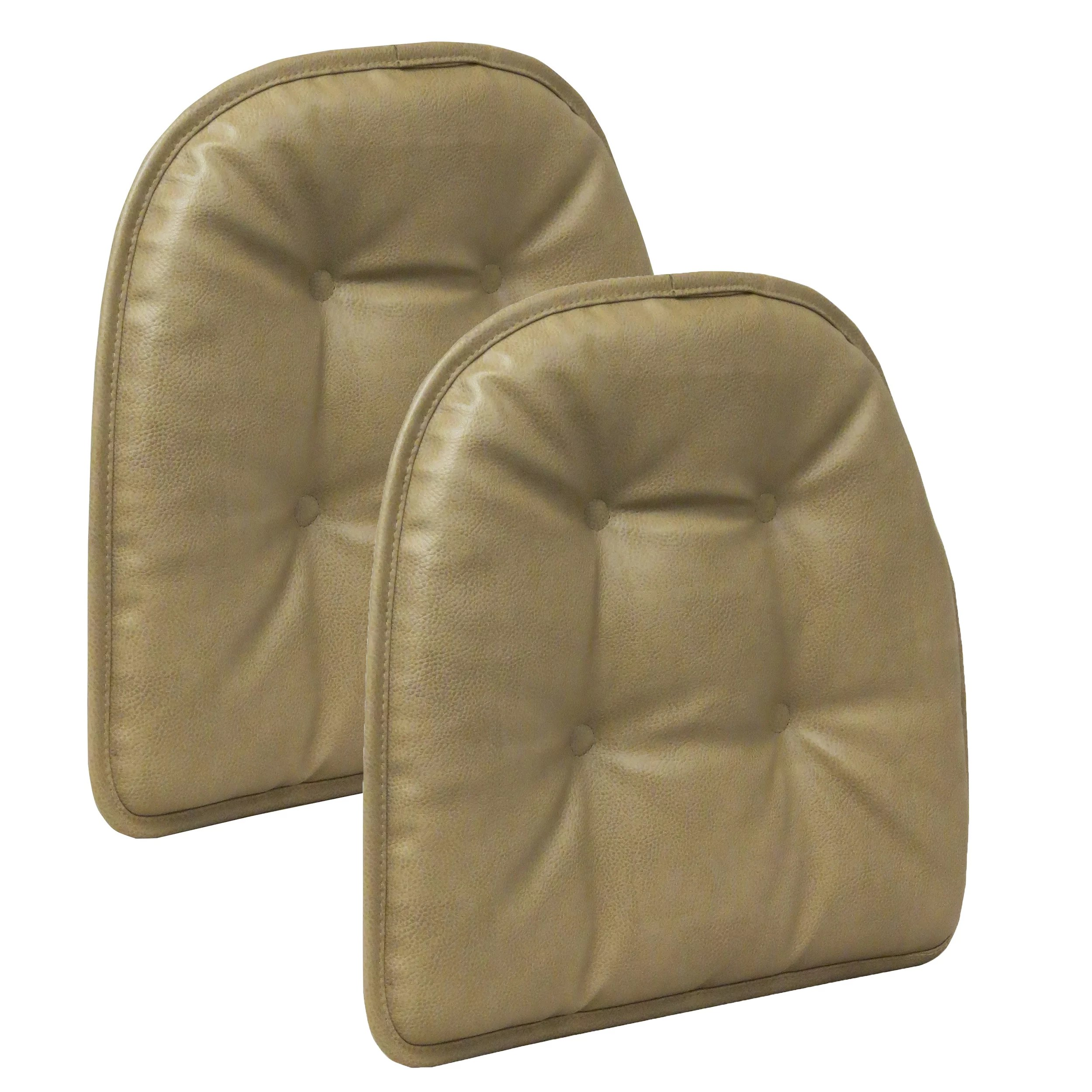 leather chair pads covers in ebay gripper non slip 15 x 16 faux tufted cushions set of 2 walmart com