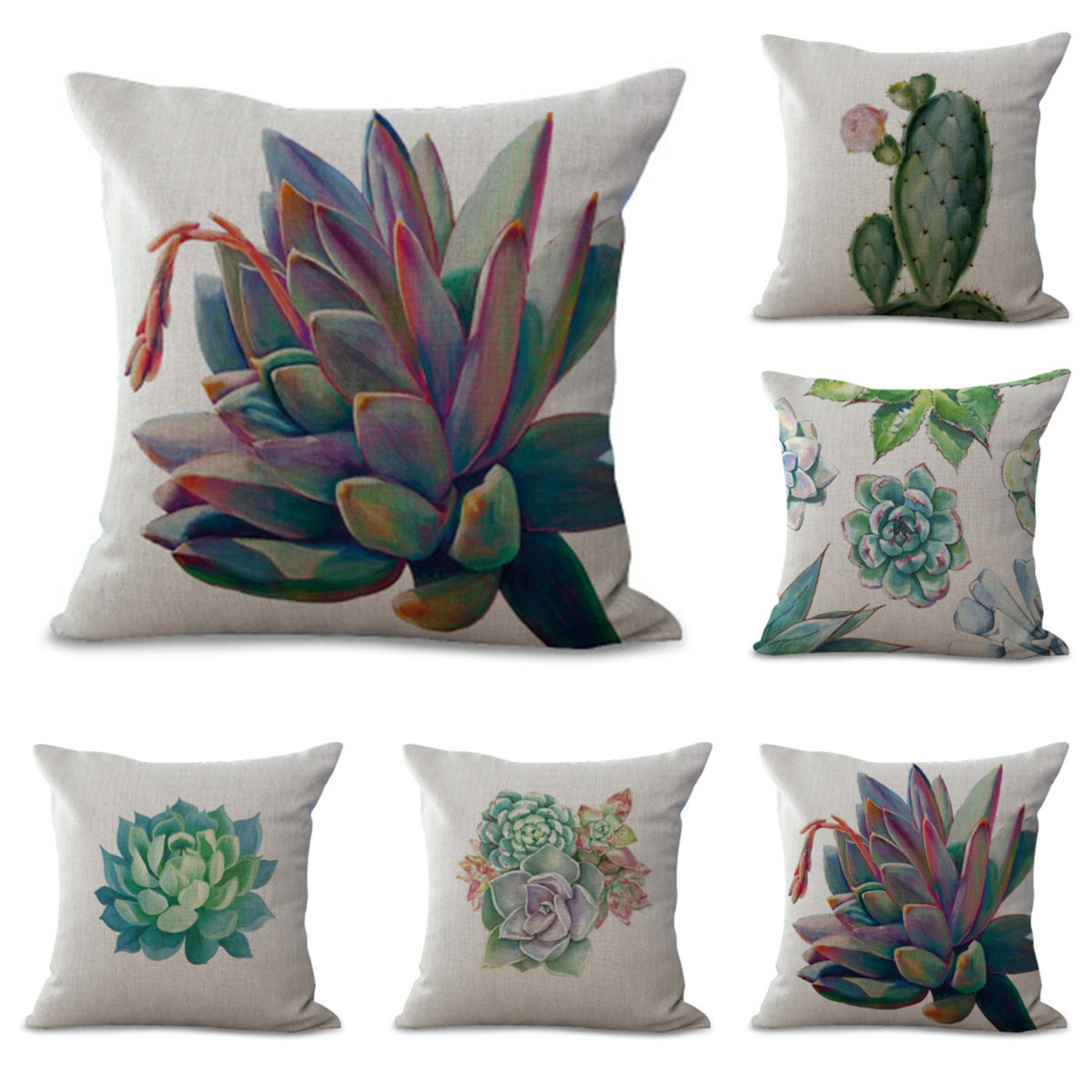 cactus plants green succulent decorative throw pillow case cushion cover 18x18 inch square zipper waist pillowcase pillow protector slip cases sham