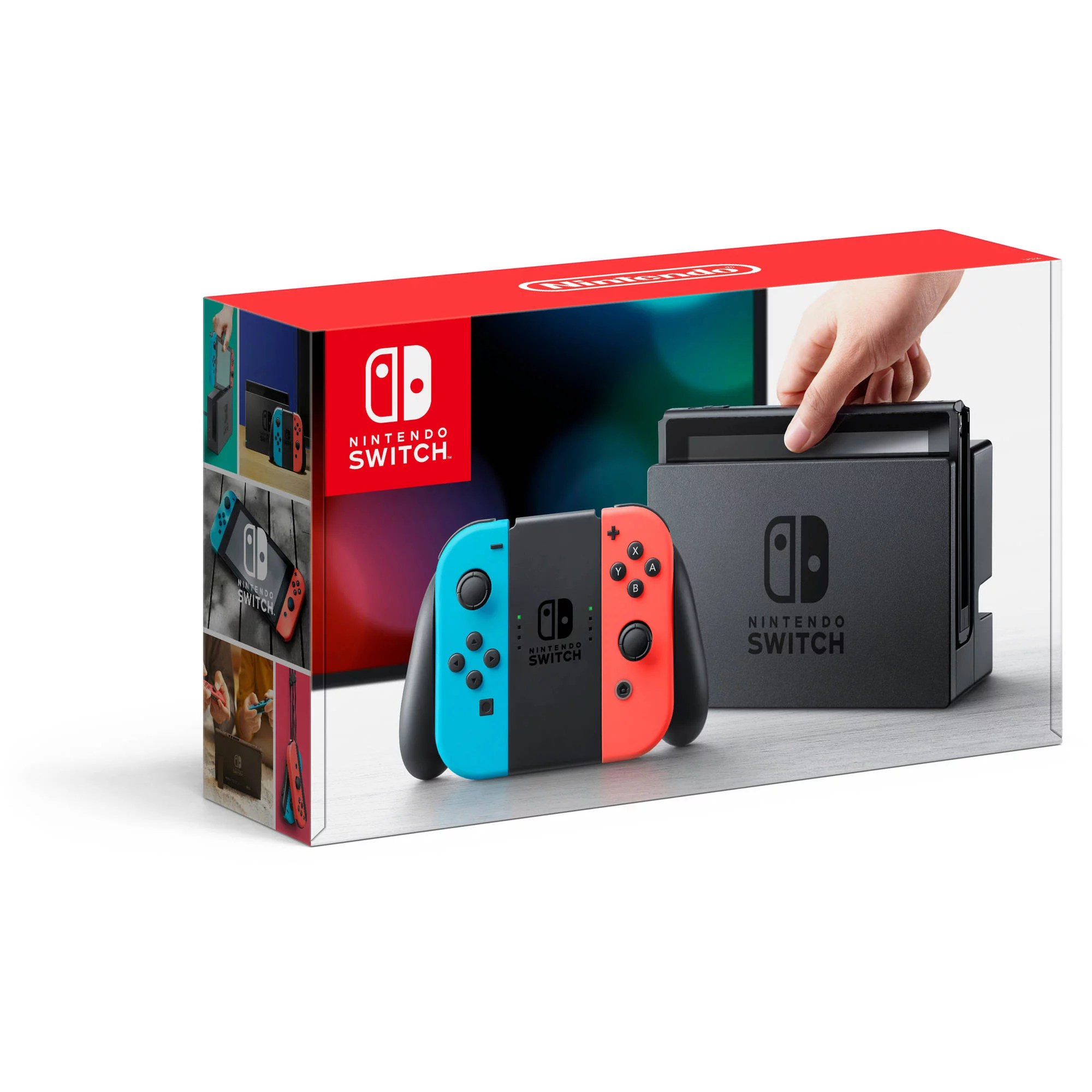 Nintendo Switch Console With Neon Blue Red Joy Con