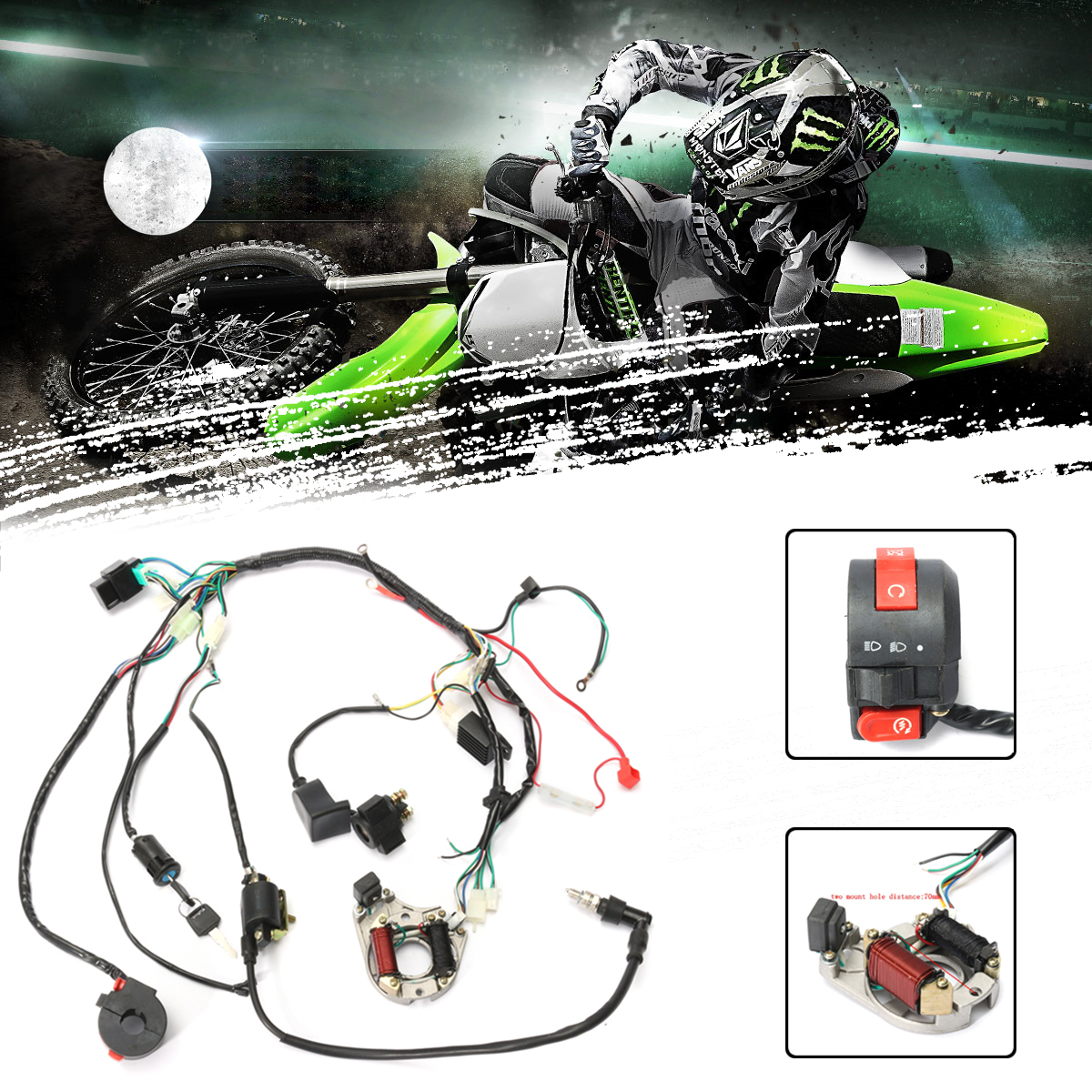 hight resolution of 50cc 125cc cdi wire harness stator assembly wiring set chinese atv electric quad walmart com