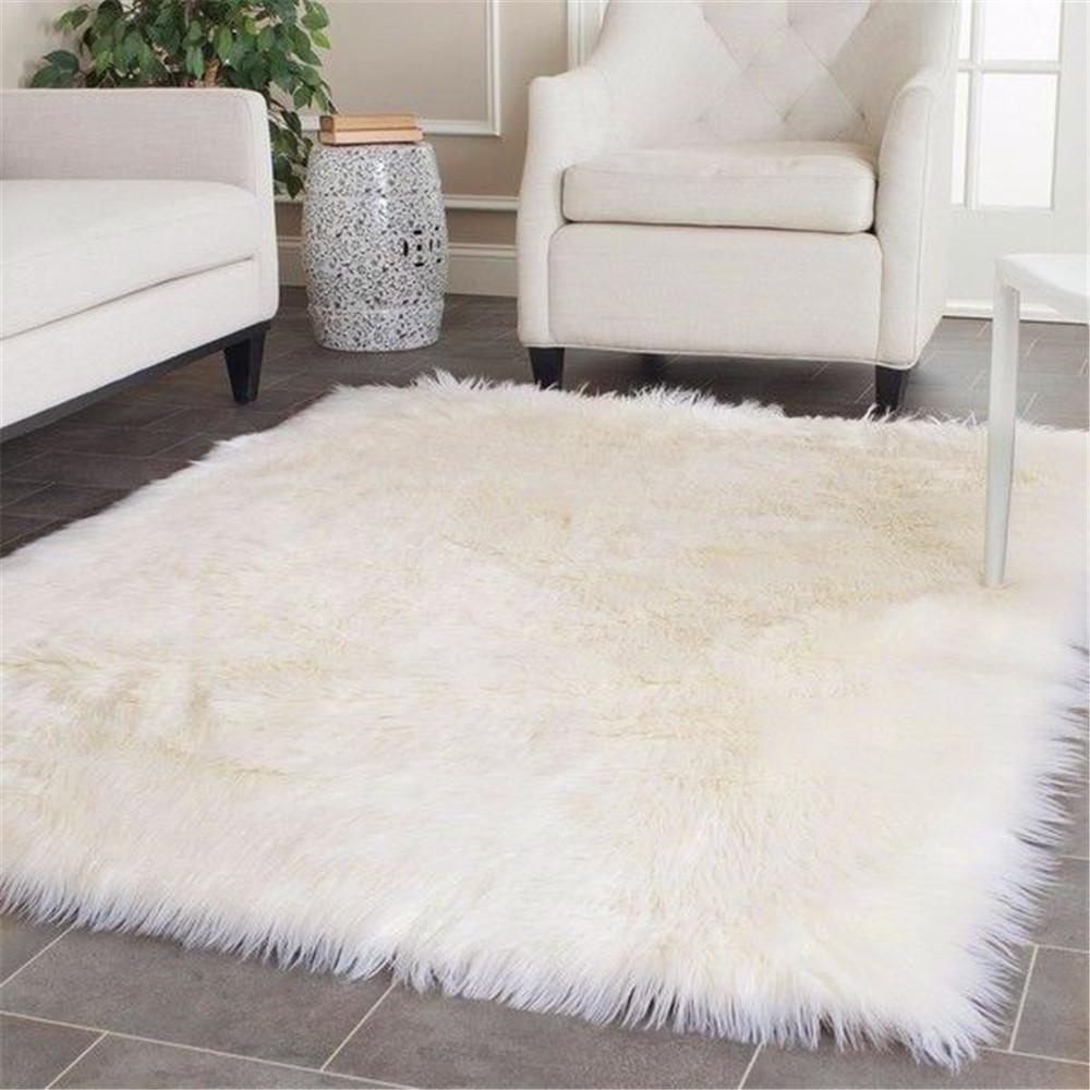 living room floor mats paint ideas for walls soft rectangle faux sheepskin rug sofa carpet bedroom mat