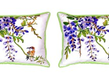 Pair of Betsy Drake Wisteria & Bird Large Indoor/Outdoor ...