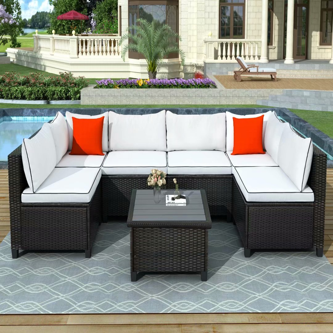 quality rattan wicker patio set 7pcs u shape sectional outdoor furniture set with cushions and accent pillows 1 coffee table for lawn garden