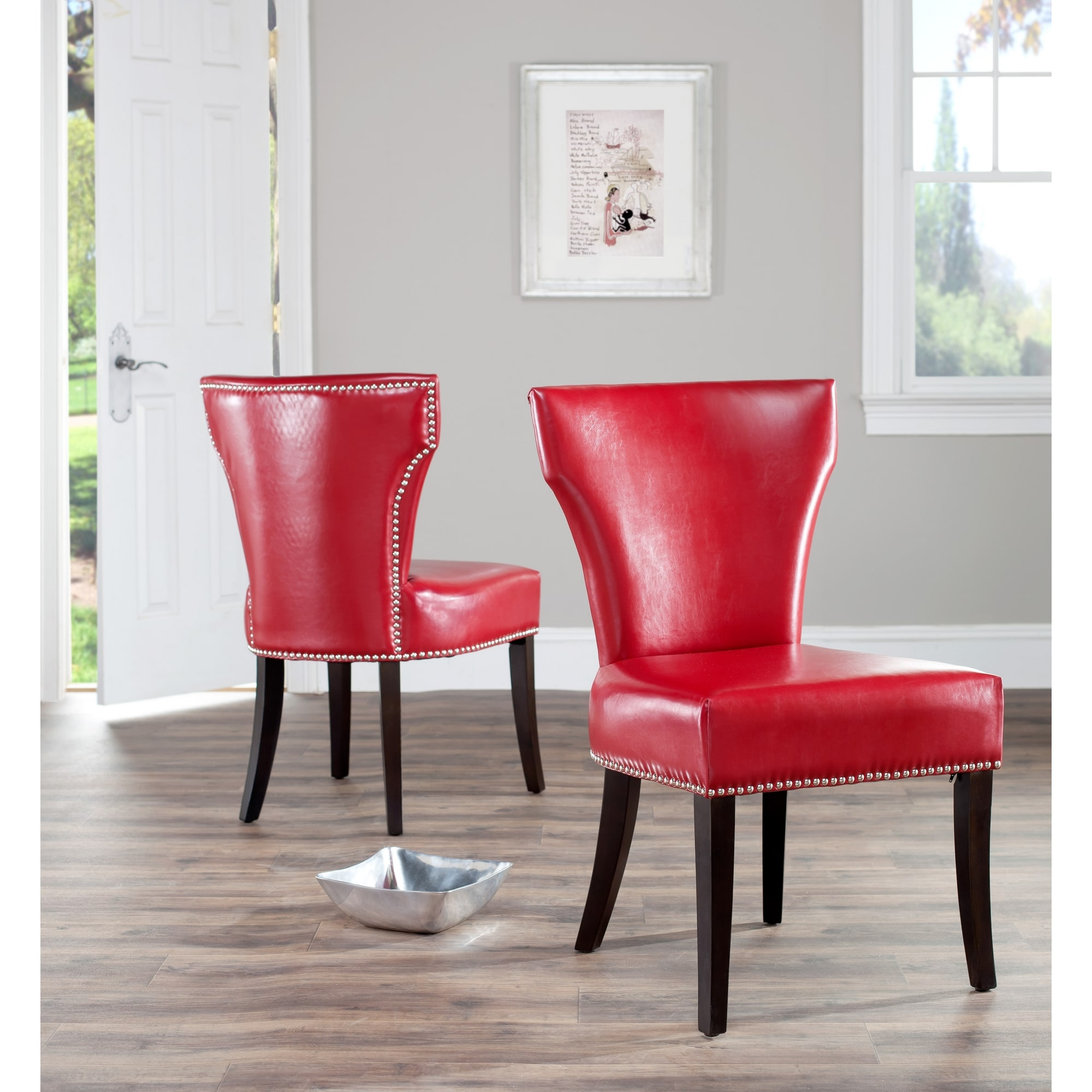 Red Leather Dining Room Chairs Matty Red Leather Nailhead Dining Chairs Set Of 2 Walmart