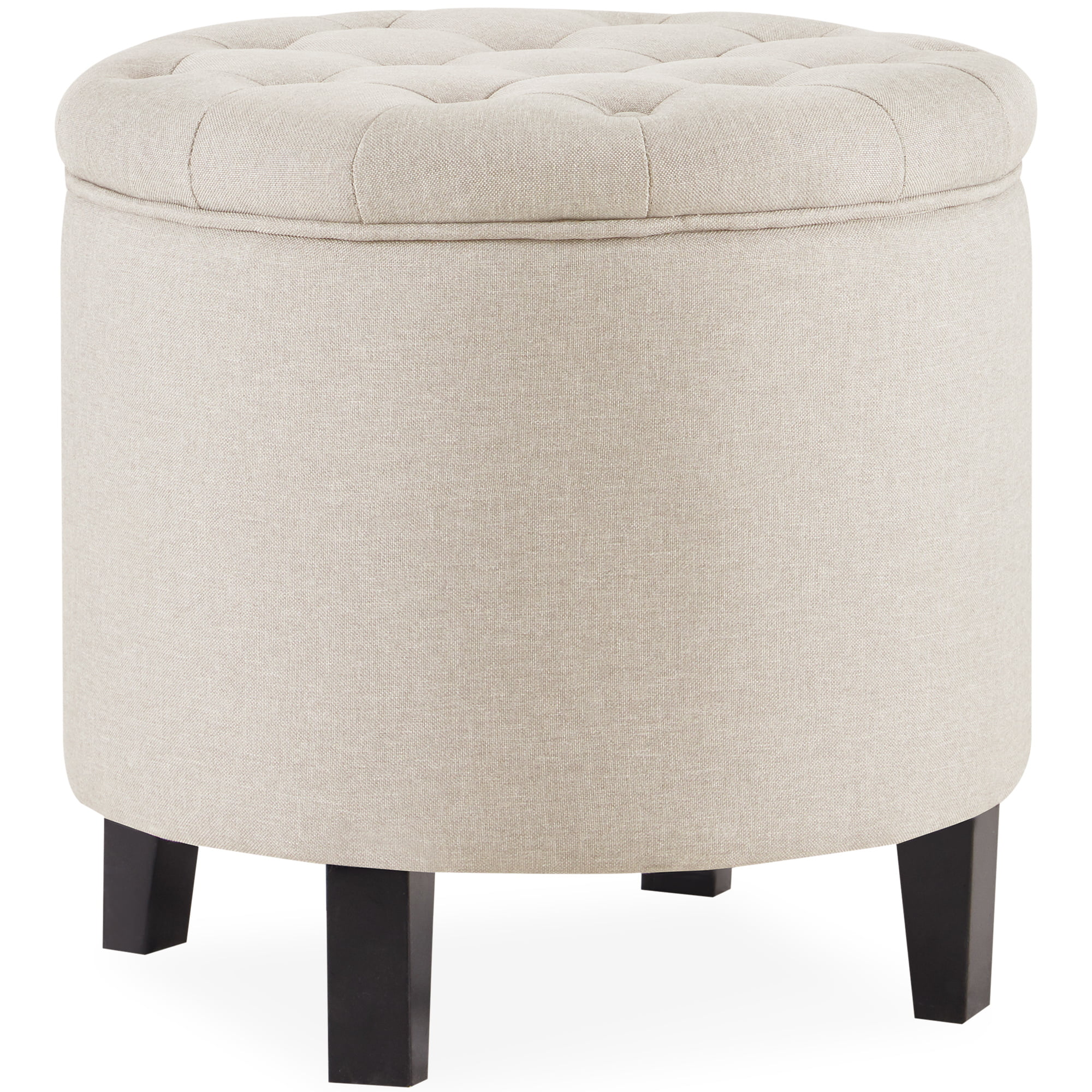 belleze nailhead round tufted storage ottoman large footrest stool coffee table lift top walmart com