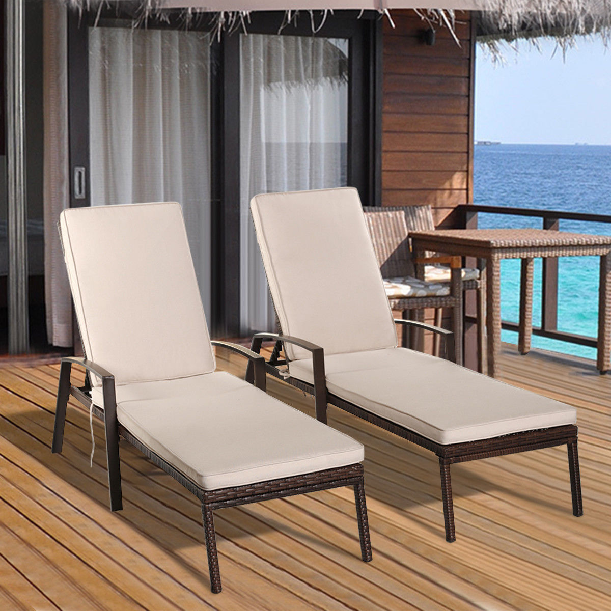 lounge chair outside chairs with caning outdoor chaise lounges walmart com product image costway 2pcs patio rattan garden furniture adjustable back w cushion