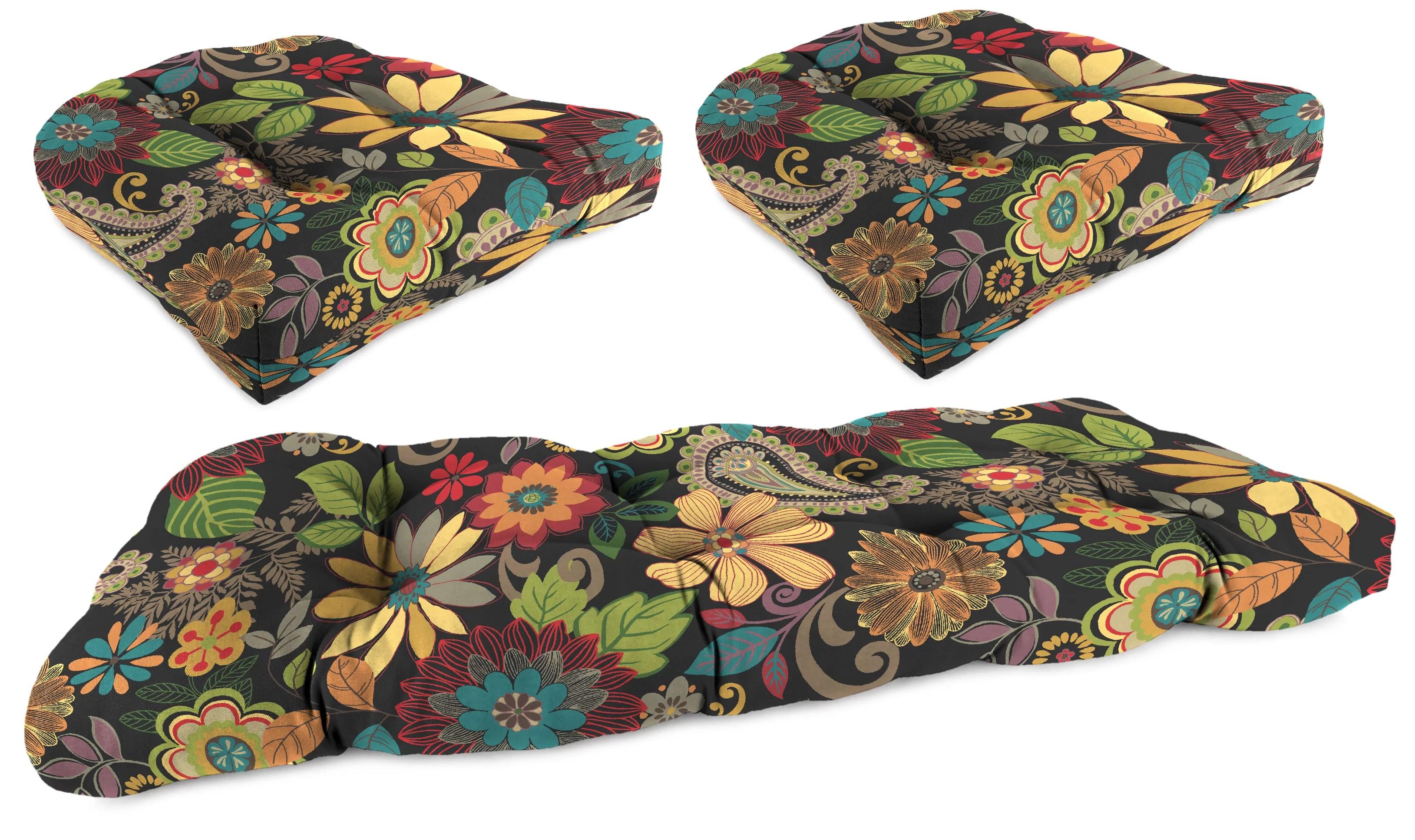 jordan manufacturing gaya outdoor 3 piece wicker cushion set 1 settee 2 seats pizzaz walmart com
