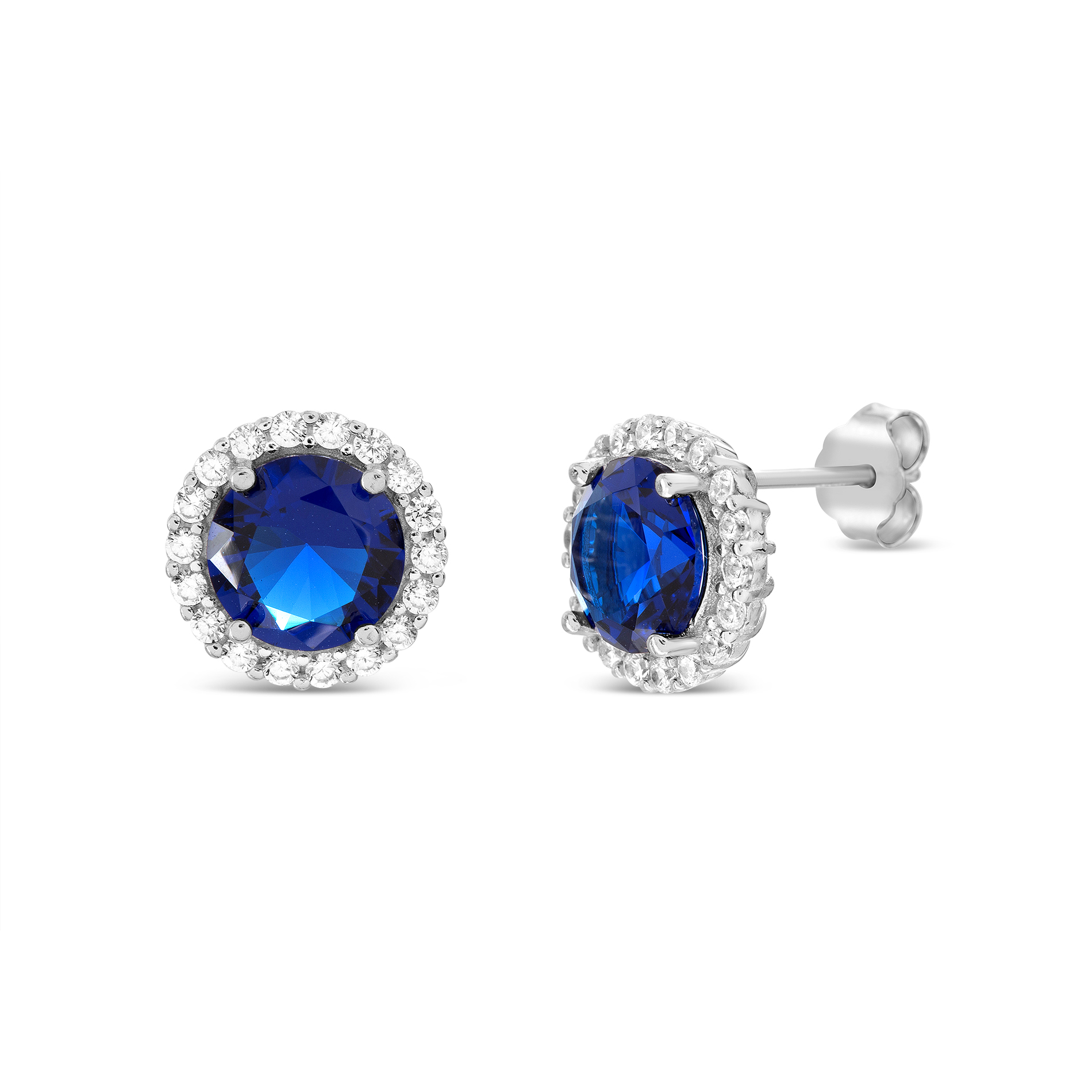 Sterling Silver and Sapphire Bezel Earrings