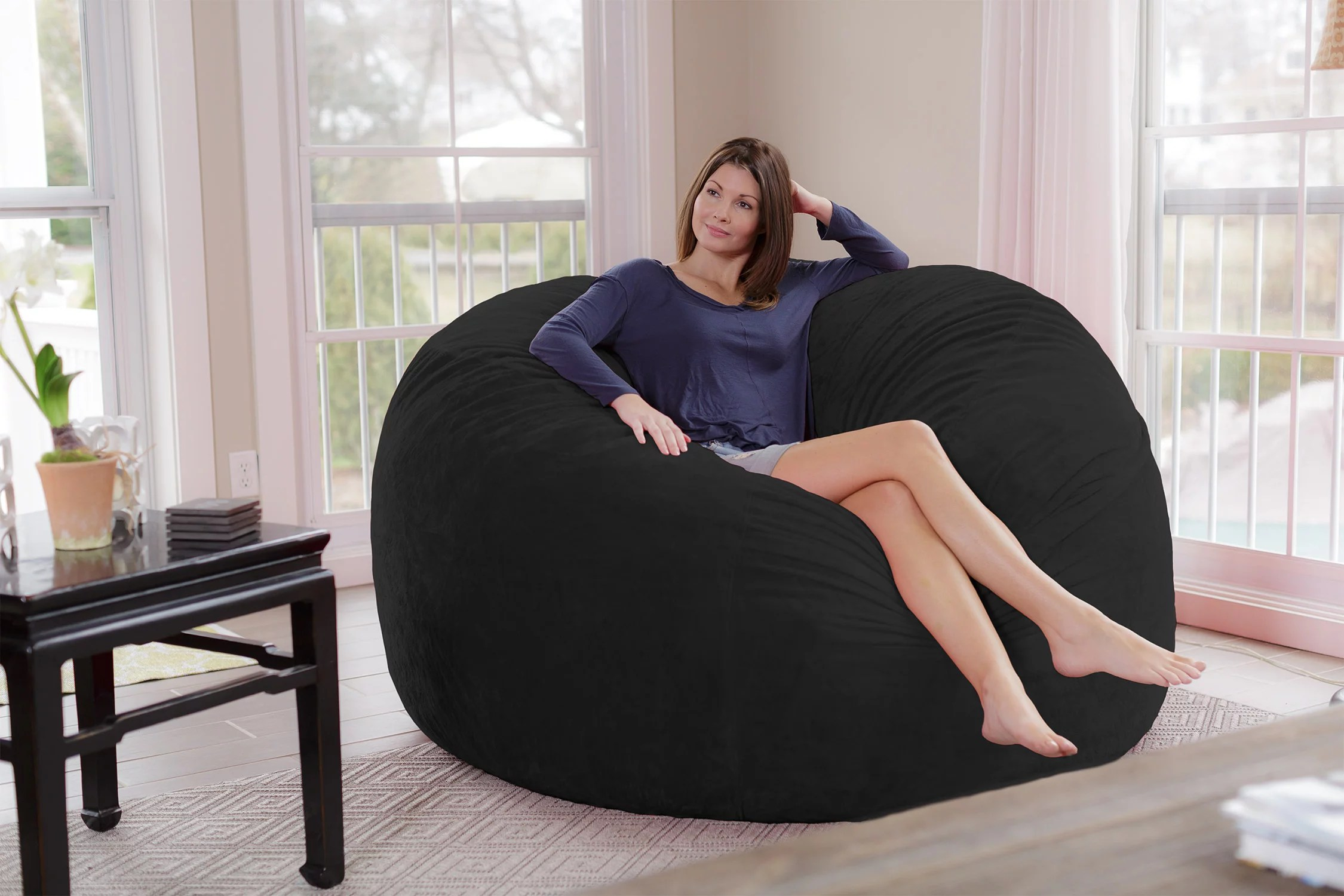 6 foot bean bag chair chairs for kids chill sack giant ft multiple colors fabrics walmart com