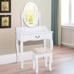 Makeup Chair Walmart Wicker Bowl Youth Vanity Bench And Mirror Set With Jewelry Storage