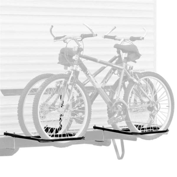 rv or camper trailer bumper bike rack for 1 2 bicycles