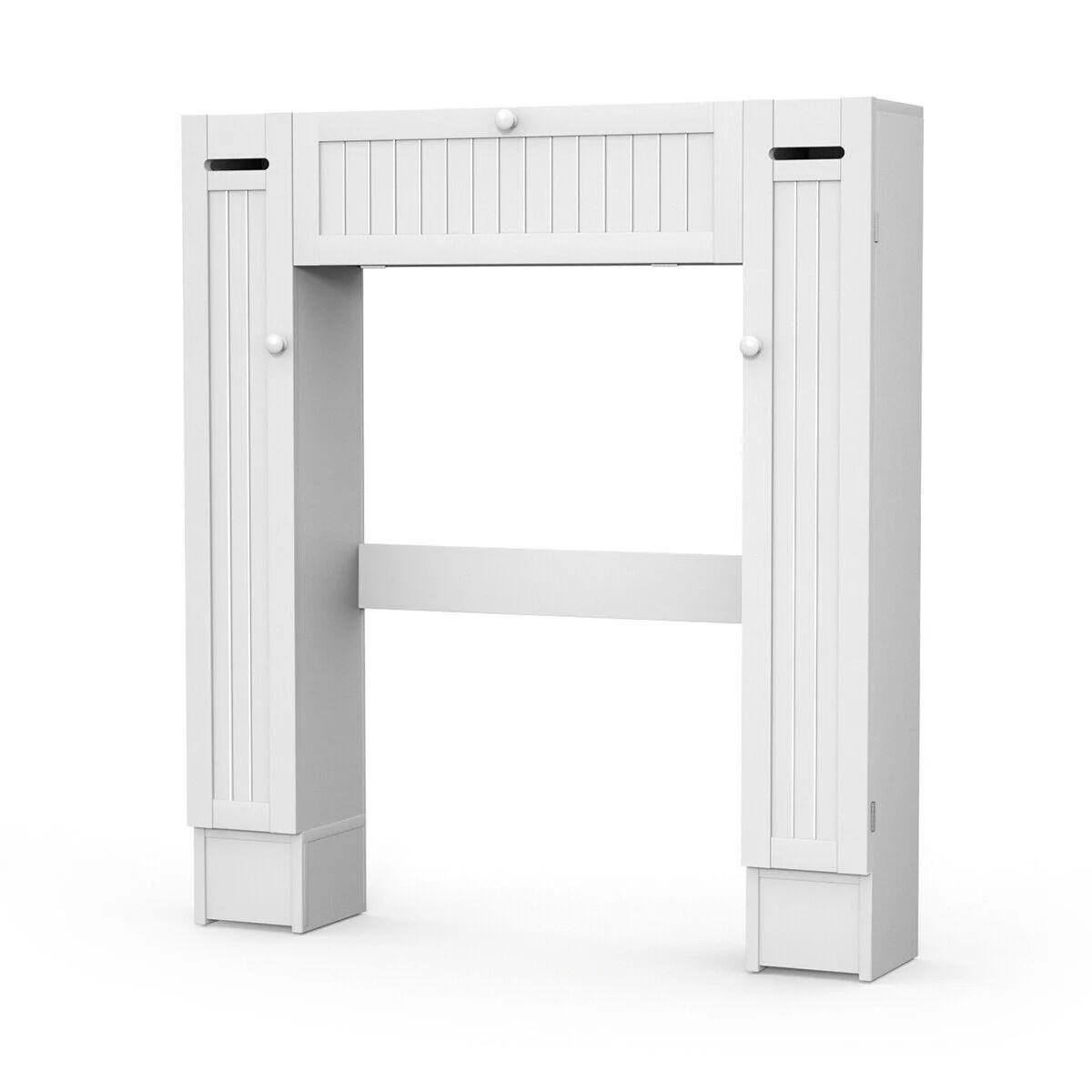 Goplus Wooden Over The Toilet Storage Cabinet Drop Door Spacesaver Bathroom White Walmart Com Walmart Com