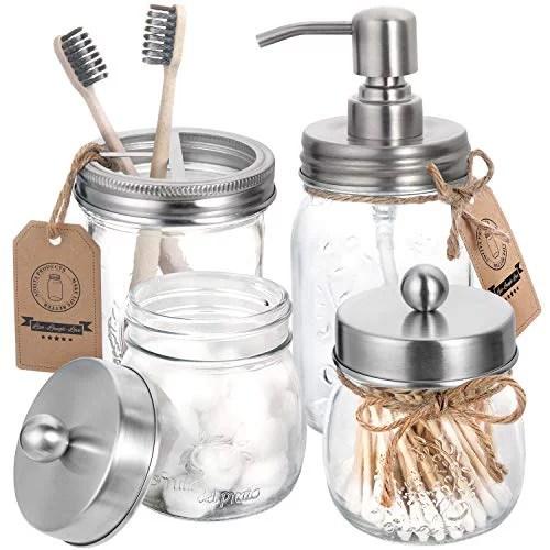 Aozita Mason Jar Bathroom Accessories Set 4 Pcs Mason Jar Soap Dispenser 2 Apothecary Jars Toothbrush Holder Rustic Farmhouse Decor Bathroom Countertop Vanity Organize Brushed Nickel Walmart Com Walmart Com