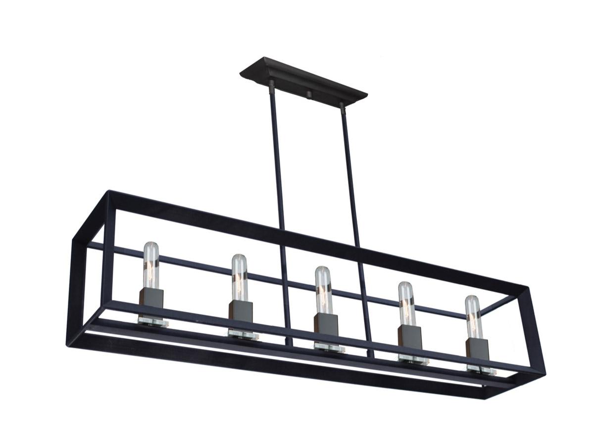Island Lighting 5 Light Bulb Fixture With Matte Black