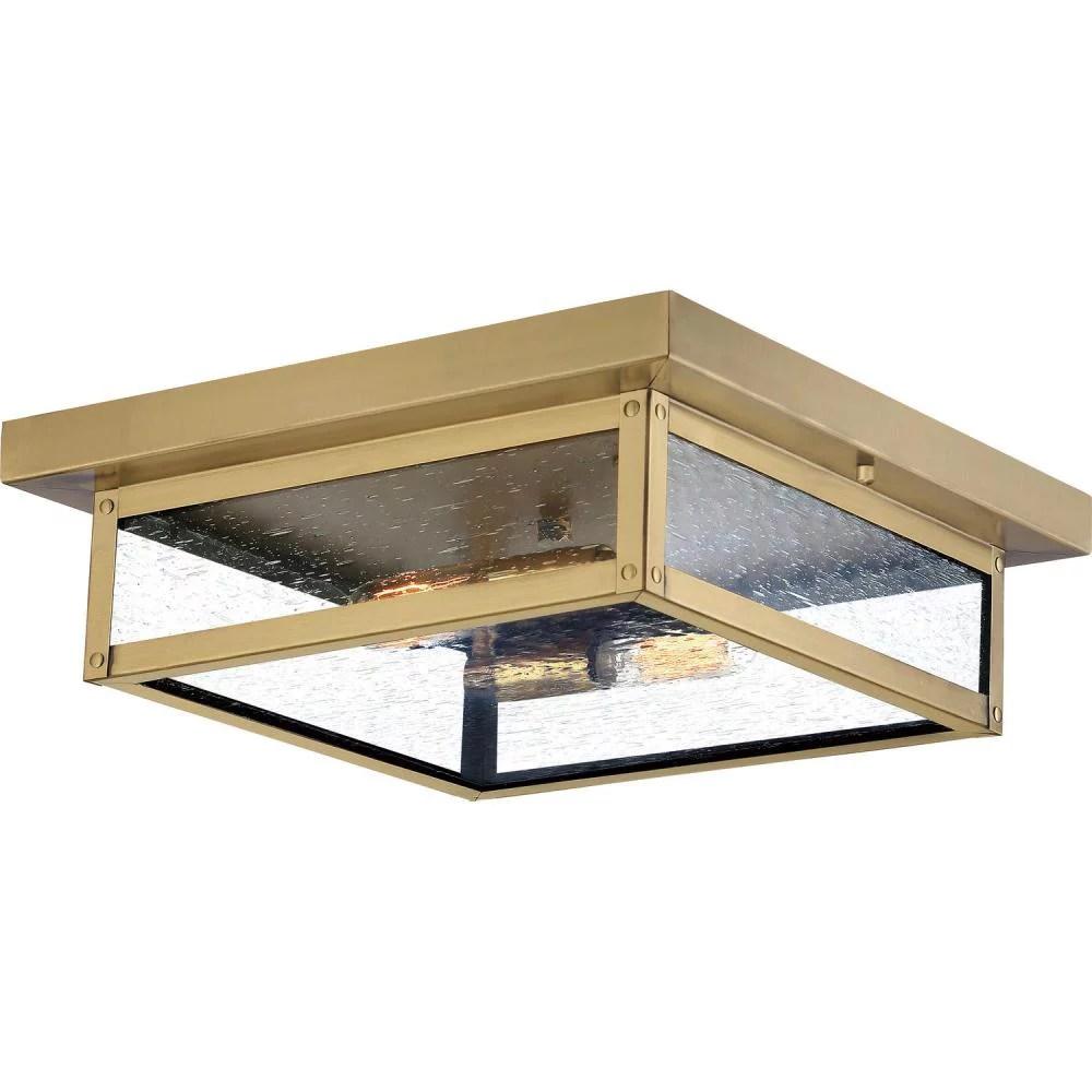 quoizel wvr1612a westover modern industrial 2 light outdoor flush mount ceiling light antique brass 12 watt 12 inch fixtures for outdoor backyard