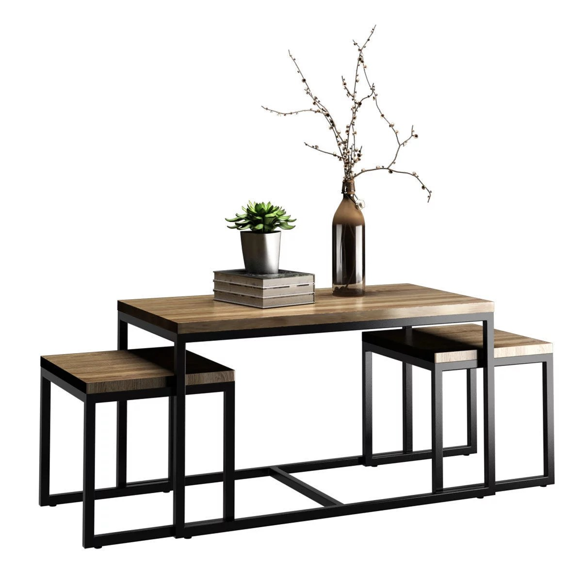 3 piece living room table set interior design pictures nesting coffee end wood modern qty
