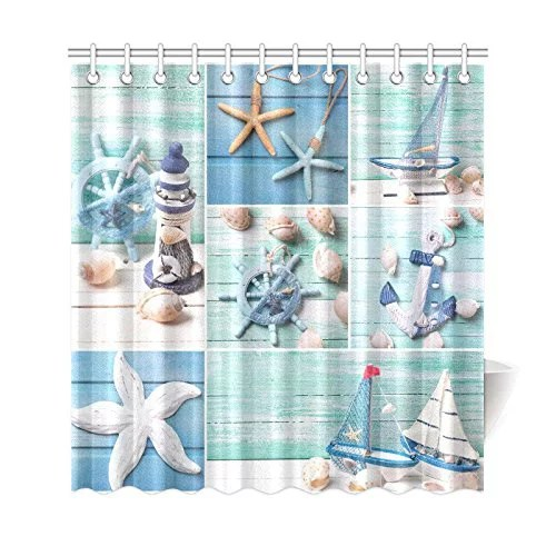 bpbop sea theme sandy beach shower curtain wooden starfish seashells polyester fabric shower curtain bathroom sets 66x72 inches