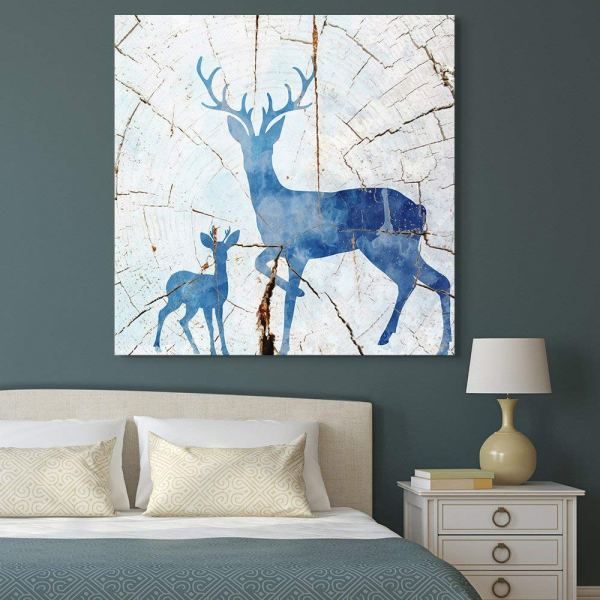 Wall26 - Square Canvas Wall Art Blue Deer Wood Effect