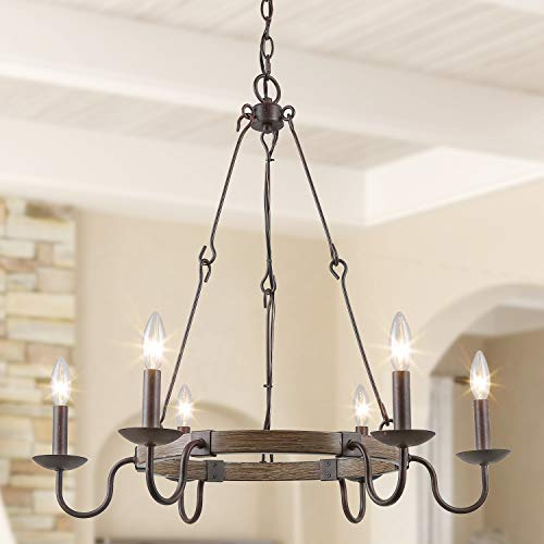 log barn rustic french country chandelier wagon wheel hanging island lighting for kitchen in rusty metal faux wood finish 6 light lighting 28