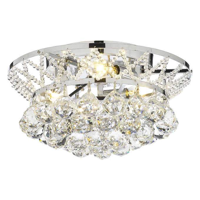 lighting by pecaso charlotte flush mount light fixture with heirloom grandcut crystal silver