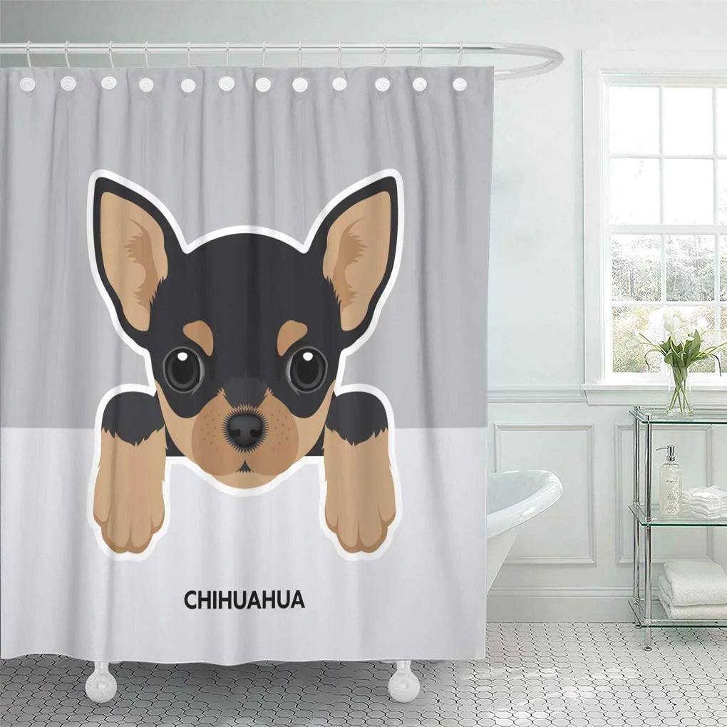cynlon brown black happy portrait of chihuahua puppy dog white bathroom decor bath shower curtain 60x72 inch walmart com
