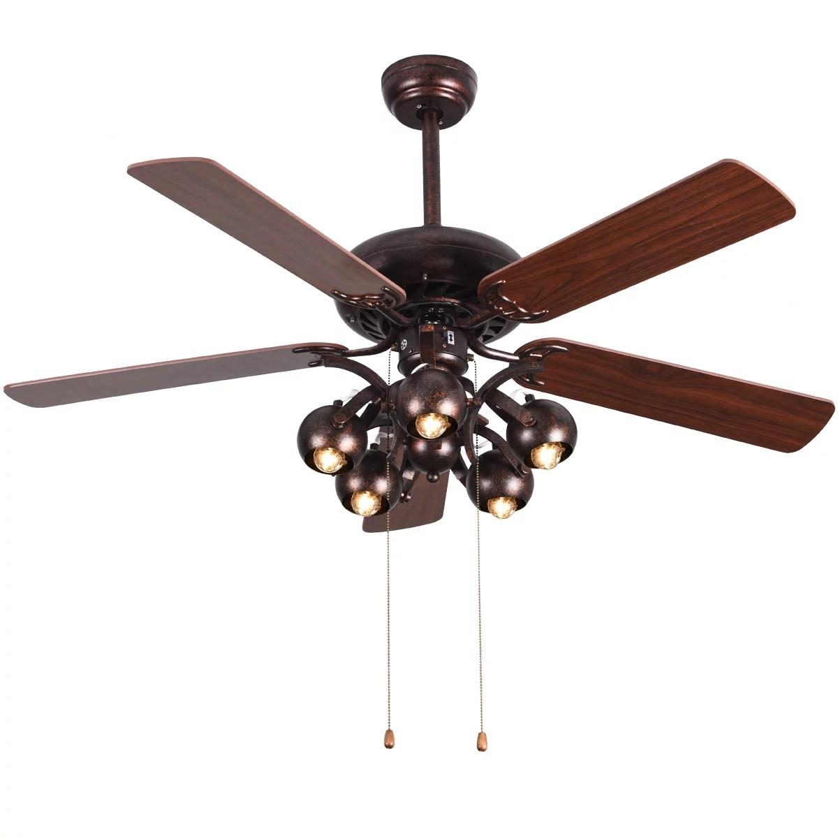 costway 52 vintage rustic ceiling fan light w 5 reversible blades pull chain home walmart com