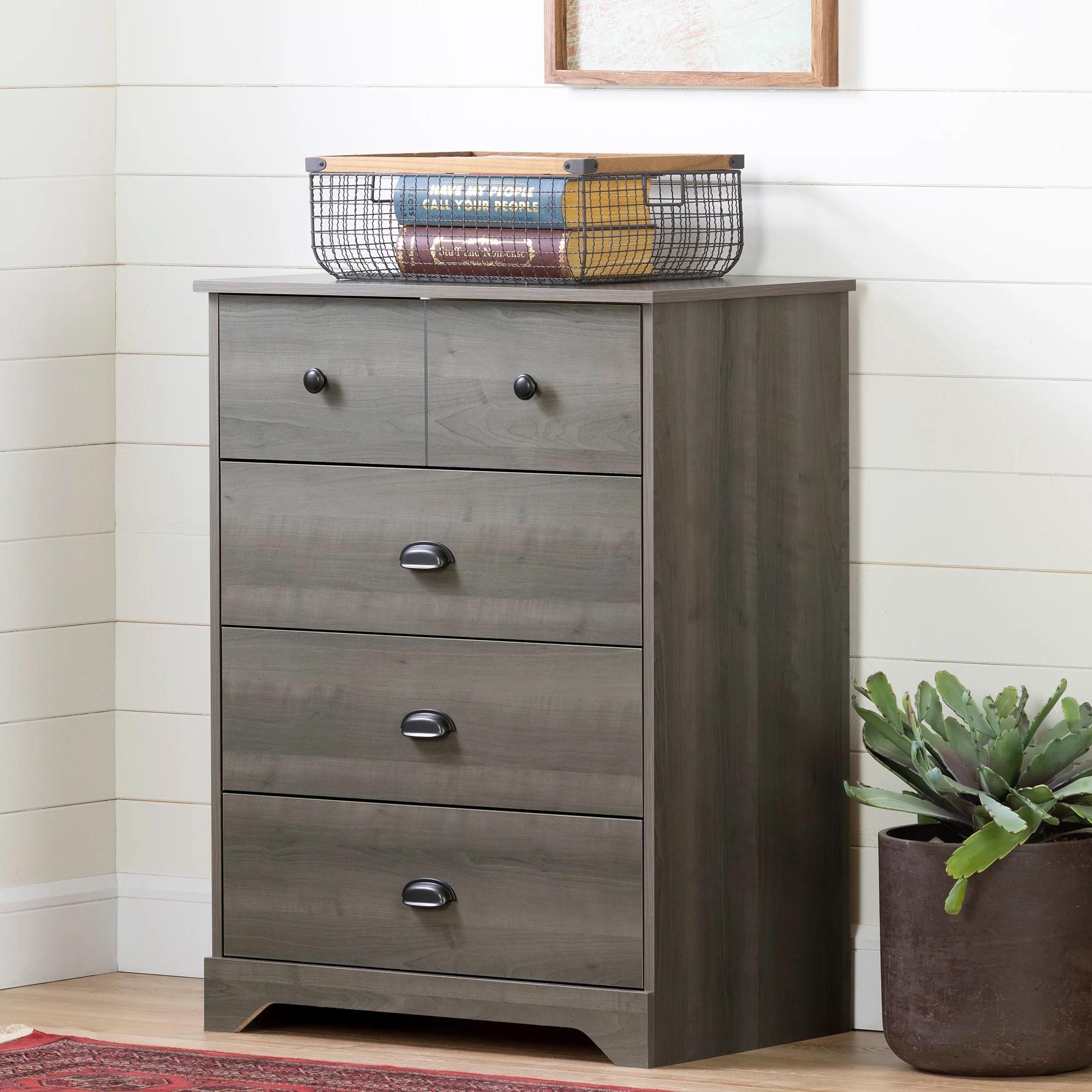 south shore volken 4 drawer chest dresser gray maple