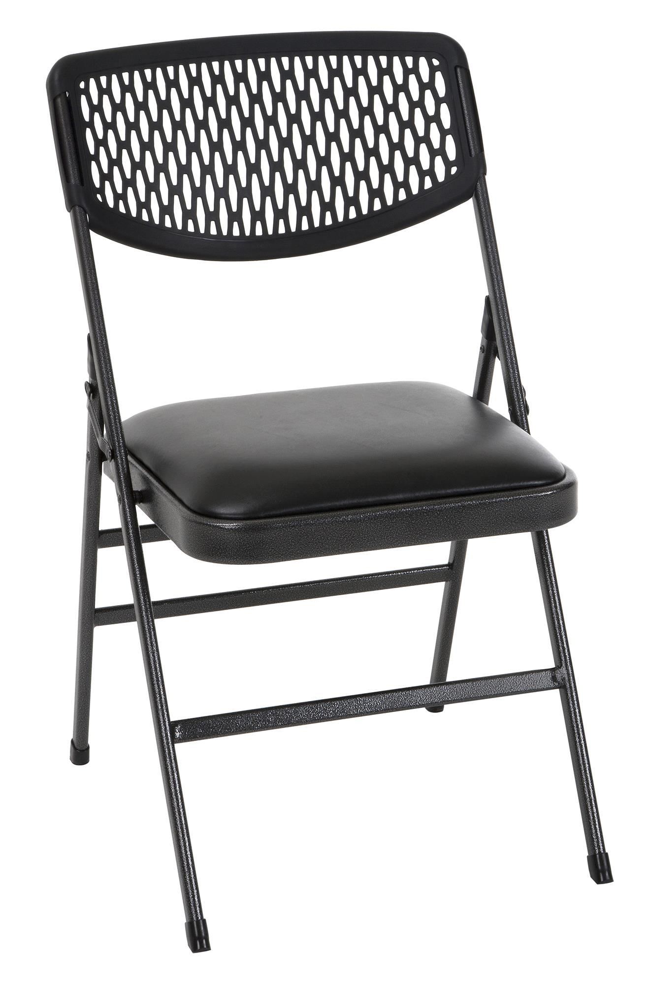 folding chair vinyl padded black eames aluminum cosco commercial seat with