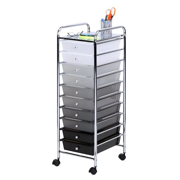 Honey Rolling Storage Cart With 10 Shaded Drawers Multicolor