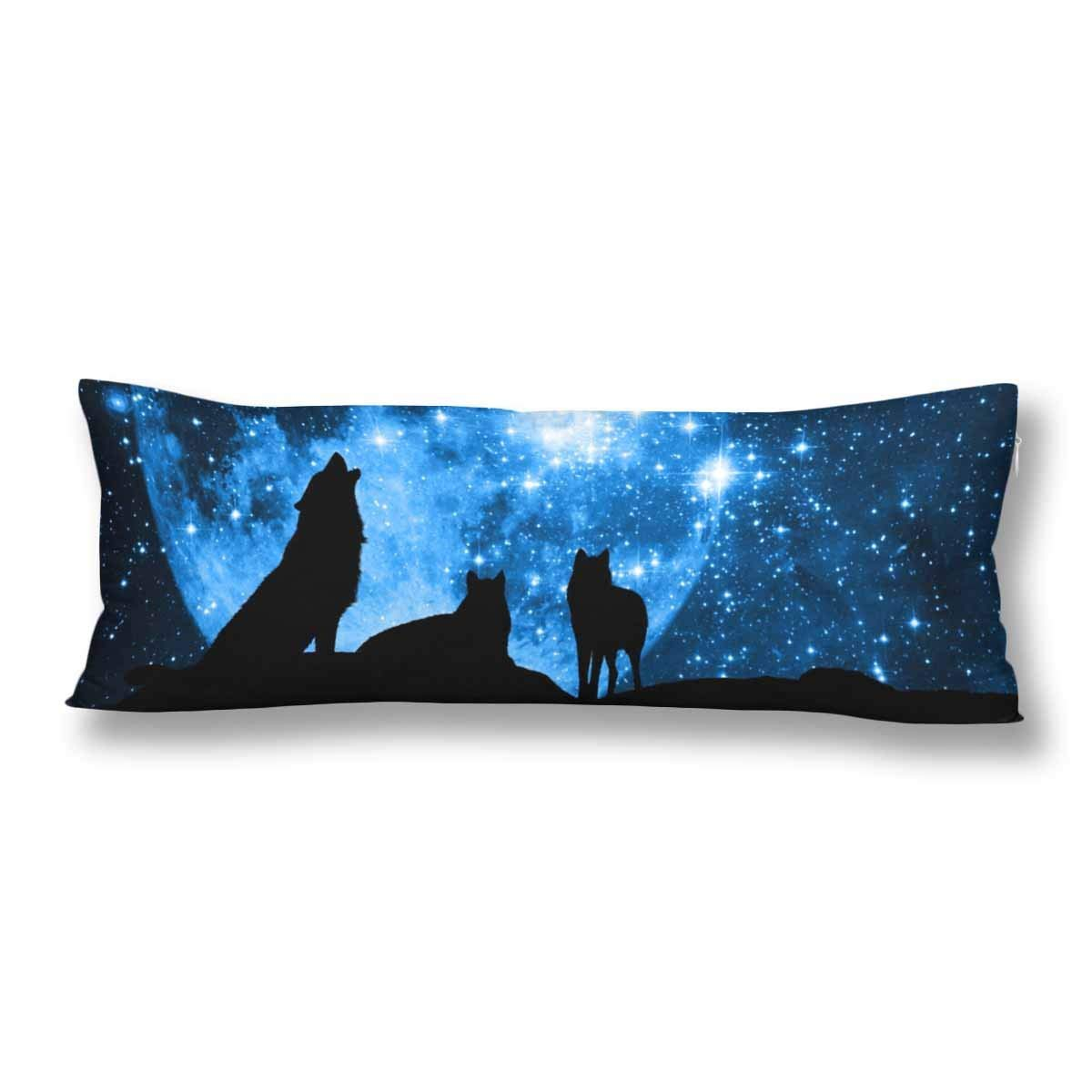 abphoto wolf silhouette full moon body pillow covers pillowcase 20x60 inch blue starred sky body pillow case protector walmart com