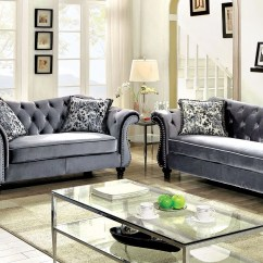 Living Room Loveseat Rustic Tables Luxurious Jolanda Sofa Set And Grey Traditional Furniture 2pc Button Tufted Design Walmart Com