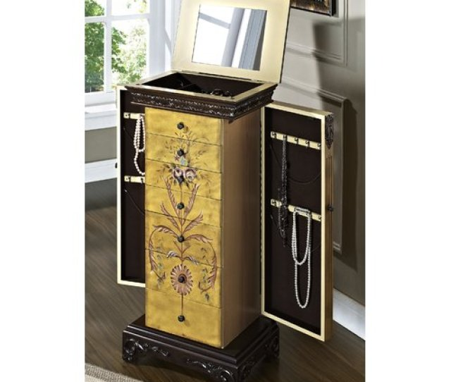 Astoria Grand Belfast Antique Parchment Hand Painted Jewelry Armoire