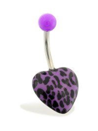 MsPiercing - Navel Ring With Cheetah Print Heart And ...