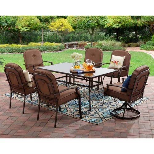 Mainstays Wentworth Outdoor Patio Dining Set Cushioned Metal 7 Piece Walmart Com Walmart Com