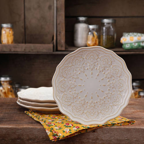 The Pioneer Woman Farmhouse Lace Salad Plate Set 4 Pack