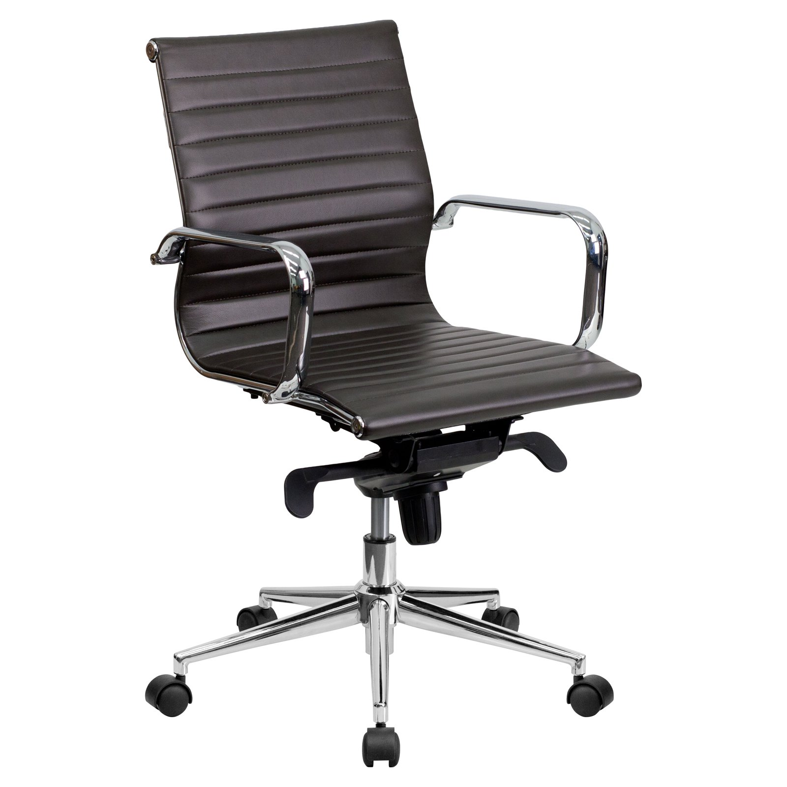 MidBack Ribbed Upholstered Leather Conference Chair