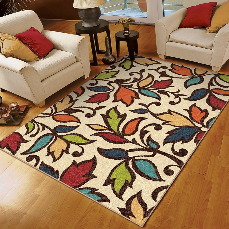 bright colored living room rugs orange ideas orian colors leaves dicarna ivory area rug walmart com